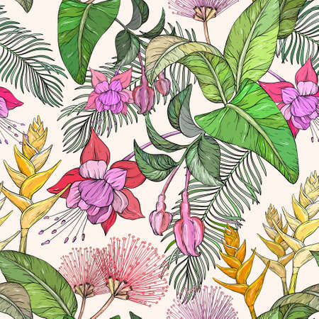 Seamless pattern with Tropical flowers and leaves. Jungle leaves and exotic plants