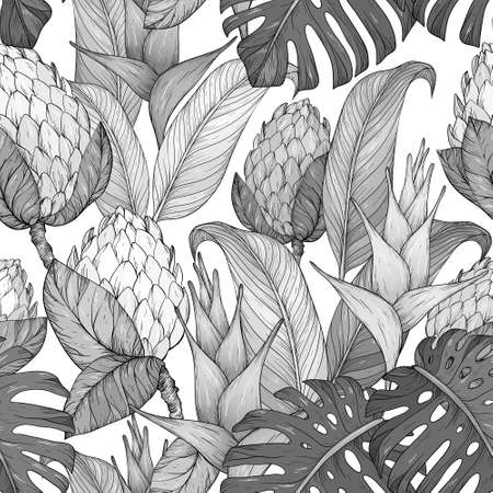 Seamless pattern with Tropical flowers and leaves. Hand drawn jungle leaves and exotic flowers. Black and white