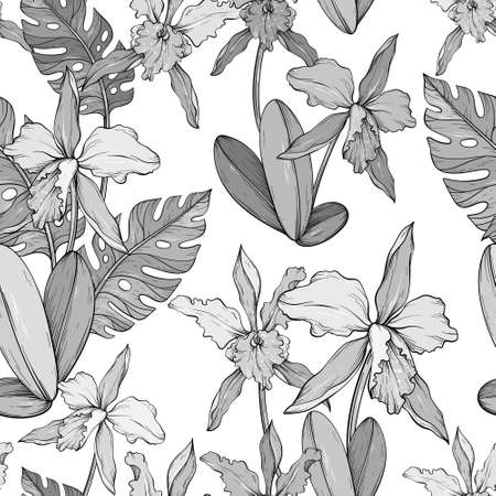Abstract vintage seamless floral pattern with orchids and tropical leaves. Black and white