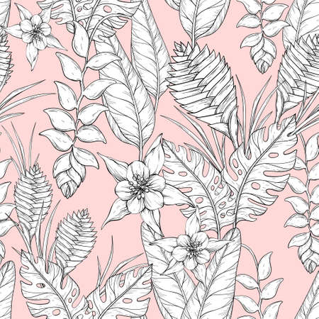 Seamless monochrome floral pattern with hand drawn jungle leaves and flowers. Heliconia flowers and tropical leaves