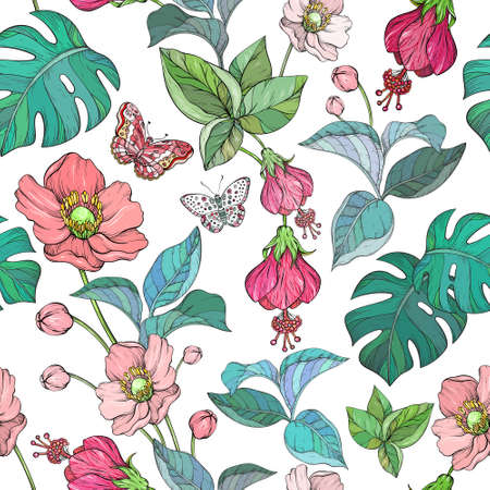 Seamless pattern with Tropical Jungle leaves and exotic plants