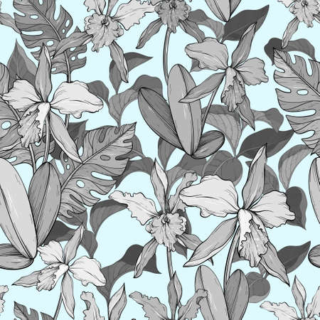 Blue vintage seamless floral pattern with orchids and tropical leaves.