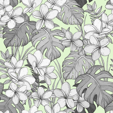 Seamless pastel pattern with Tropical leaves and Frangipani flowers.