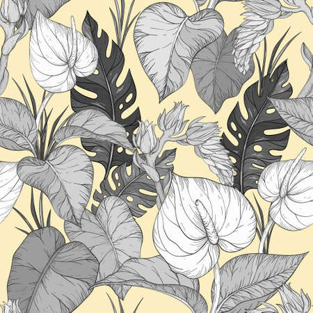 Seamless pattern with Tropical plants. Vector illustration Иллюстрация