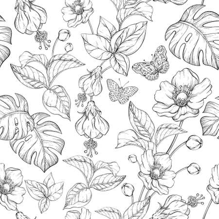 Seamless pattern with Tropical Jungle leaves and exotic plants. Black and white