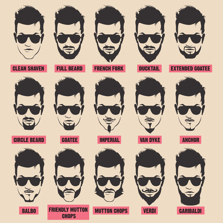 hair style collection: illustration with men beard collection isolated on white background, kinds of beards