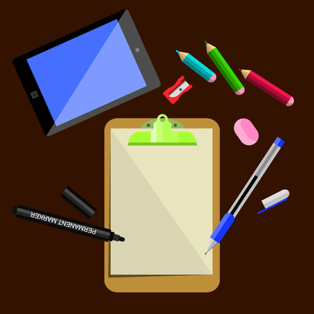 office supplies: stationery, office supplies Illustration