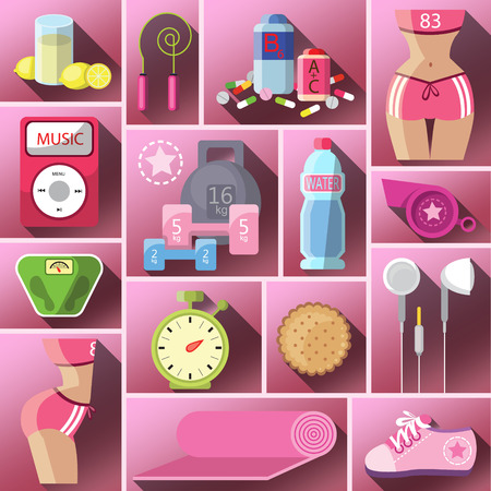 bad habits: Healthy diet flat style illustration. Diet. Choice of girls: being fat or slim. Healthy lifestyle and bad habits. Icons. Healthy lifestyle, a healthy diet and daily routine. Vector flat illustration.