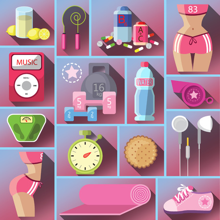 daily routine: Healthy diet flat style illustration. Diet. Choice of girls: being fat or slim. Healthy lifestyle and bad habits. Icons. Healthy lifestyle, a healthy diet and daily routine. Vector flat illustration.