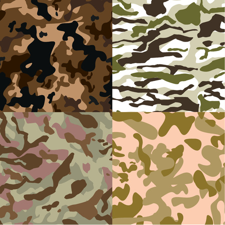 camoflage: Set of 4 seamless camouflage pattern vector  Illustration