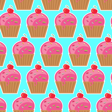 Seamless pattern sweets. Bright candy and donuts.