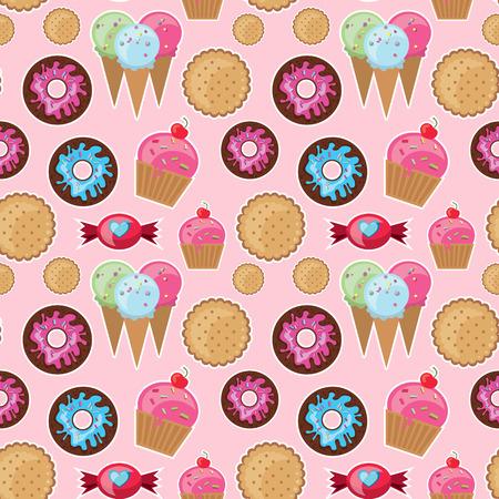 Bonbons seamless pattern. Des bonbons et des beignes Bright. Vecteurs