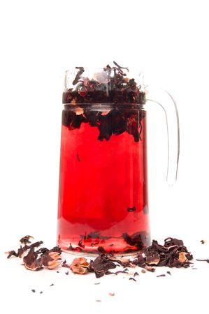 Preparing hibiscus tea photo