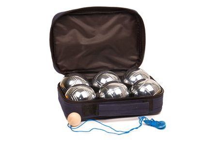 boules: Boules in a box isolated on white Stock Photo