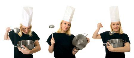 triptych: Chef women triptych Stock Photo