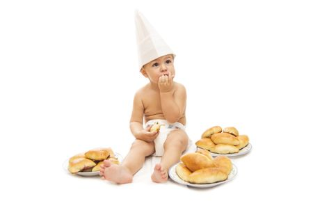 browned: Pretty chef one year baby sitting with fresh browned pies
