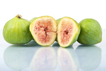 Some ripe figs isolated on white