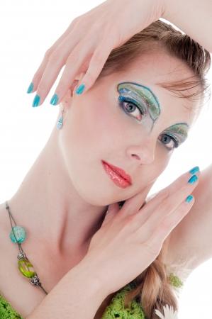 maquillaje de fantasia: Mujer hermosa con maquillaje de fantas�a azul