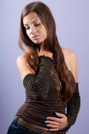 maquillaje de fantasia: Morena hermosa con maquillaje de fantas�a
