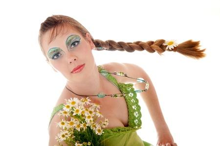 maquillaje de fantasia: Mujer joven con maquillaje de fantas�a hecha en colores azul y verde