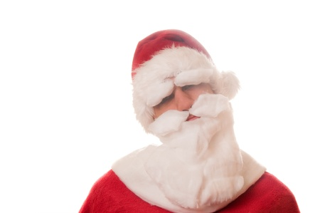 Portrait of funny Santa Claus on white background photo