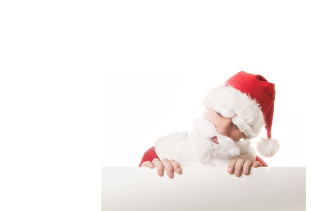 funy: Funy Santa Claus peeking out from the banner