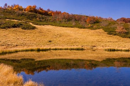 Beautiful autumn view on small mountain lake in Krasnaya Polyana