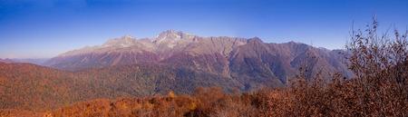 Peaks of Caucasus mountains in Krasnodar Krai in Krasnaya Polyana