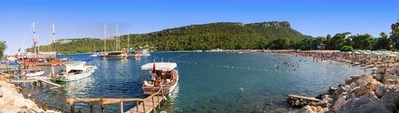 Beautiful sand bay in Kemer, Turkey Stock Photo