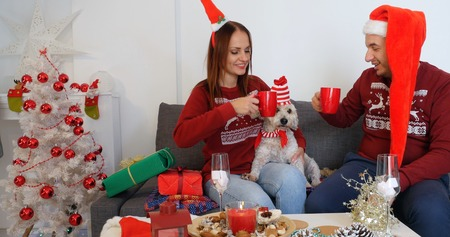 Happy couple with dog, all in Christmas clothes sitting on the sofa near Christmas tree and having hot drinks
