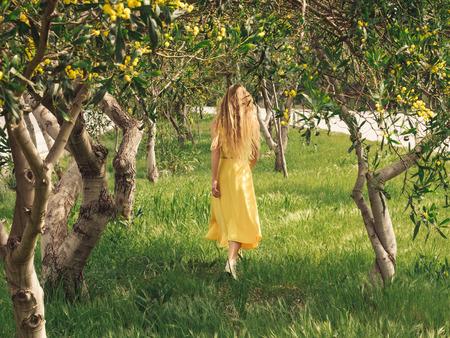 Young beautiful smiling woman with long blond hair in yellow dress walking in spring Australian Golden wattle trees garden between traffic roads. Green park zone in modern city.