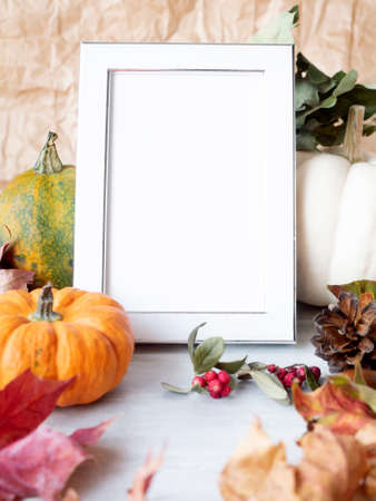 Empty white photo frame on autumn background with dry leaves berries and decorative pumpkins. Stok Fotoğraf
