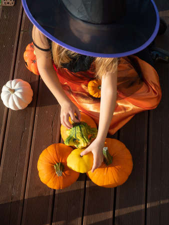 Top view of 7 years old girl in witch costume playing with pumpkins outdoors