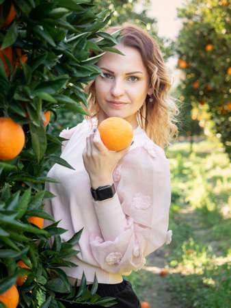 Young pretty woman holding orange and looking at camera. Standing behind orange tree