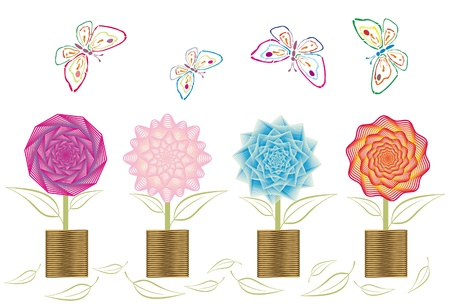 Spring flowers in vases isolated on white  Illustration
