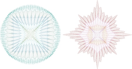 rosetta: guilloche rosette, vector pattern for currency, certificate or diplomas