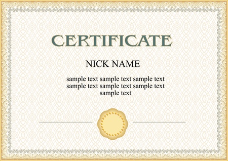certificato, diploma per la stampa