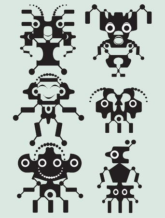 Collection of cartoon funny monsters Illustration