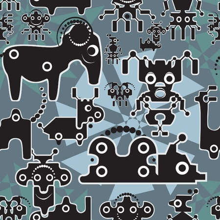 Robot and monsters cute seamless pattern   Vector