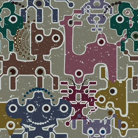 Robot and monsters cute seamless pattern