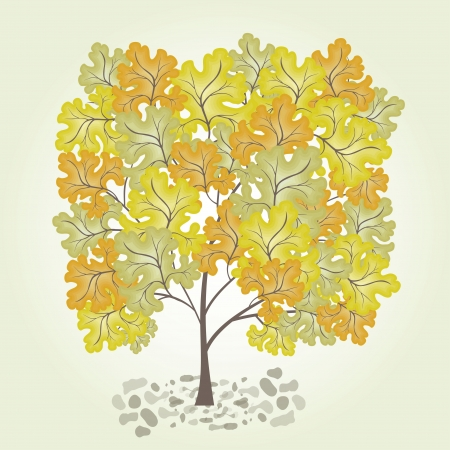 leafage: Tree with yellow leafage Illustration