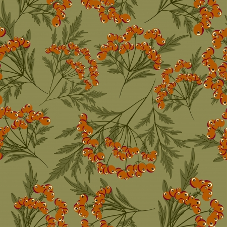 Seamless pattern with red berries and green leaves