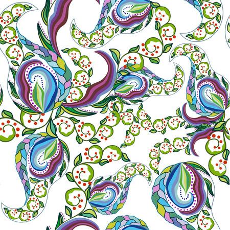 seamless texture: Nahtlose Textur mit kunstvollen Blumen-und Blatt Illustration