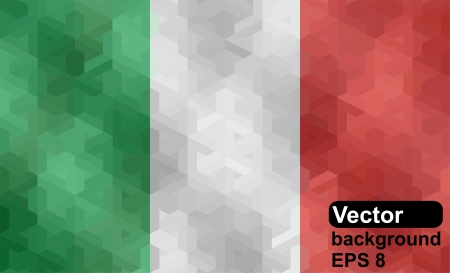 Italian flag made of geometric shapes  Vector illustration