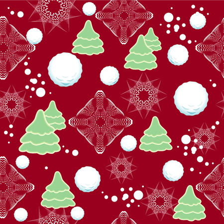 Seamless winter pattern with snowflakes, snowball, fir tree  Stock Photo