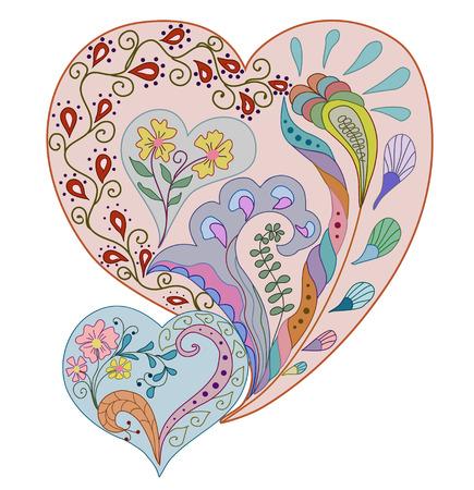 Heart floral design, Hand-Drawn Illustration  Vector