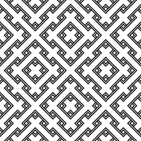 Abstract geometric seamless pattern. Black and white style pattern with rhombus and lines.  Stock Photo