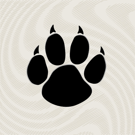 paw prints: Black animal paw print isolated on pattern Illustration