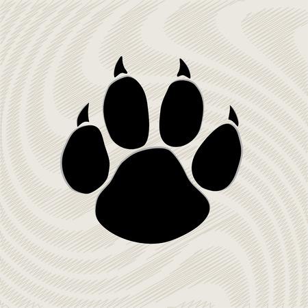 Black animal paw print isolated on pattern Illustration