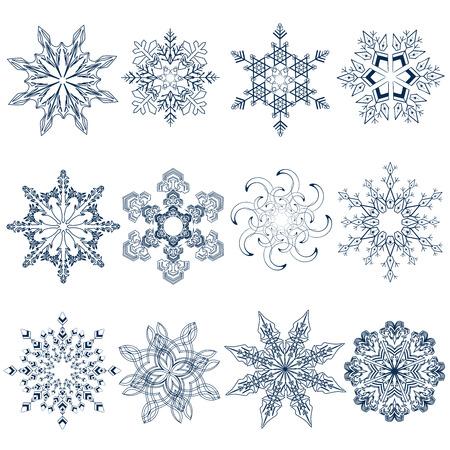 snowflake set: Collection of snowflakes (set of snowflakes)